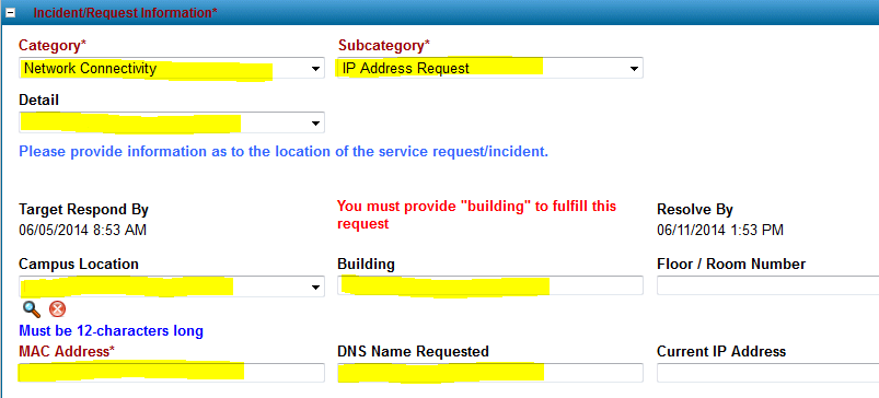 ServiceIT IP Address Request